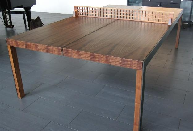Ping Pong Dining Table. Img 3420. Quarter Sawn Figured Walnut , Cold Rolled  Steel, Glass And Cork Dimensions 30 Gallery